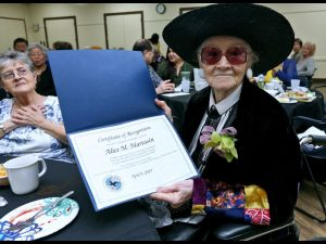 Alice Martasin with her certificate.